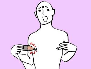 乳首オナニーしている男