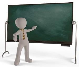 黒板の前で説明する先生