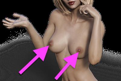 乳首をアピールする女性